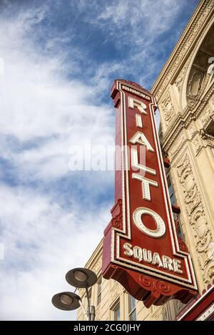 The legendary Rialto Square Theatre is a theatre, in the Chicago Suburbs, that opened in 1926 and on the U.S. National Register of Historic Places. - Stock Photo