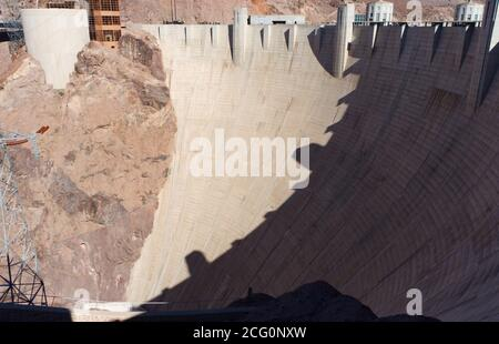 Hoover Dam, Black Canyon, Colorado River. Human construction, irrigation, hydroelectric power, September 2019 - Stock Photo