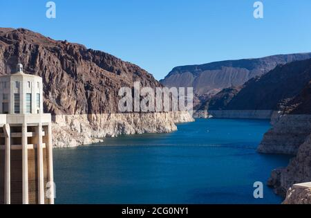Lake mead, Nevada, USA, artificial lake make by human, reservoir, hydroelectricity, irrigation, Hoover Dam area - Stock Photo