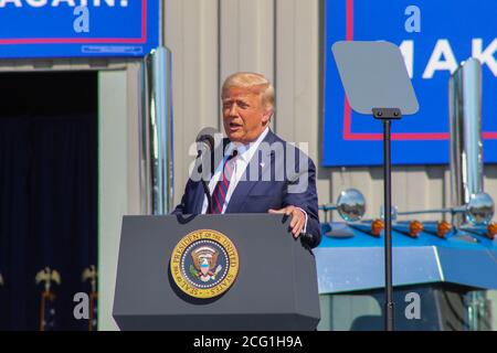 45th United States President Donald J. Trump speaks at an event in Old Forge, Pa. where he slammed his opponent Joe Biden who is from the area. Stock Photo