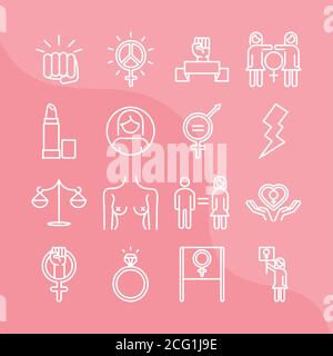feminism movement icon, female rights pictogram linear icons set vector illustration - Stock Photo