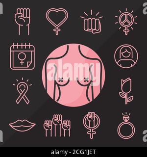 feminism movement icon, power female rights pictogram line icons set vector illustration - Stock Photo