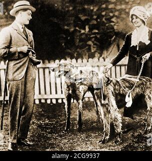 1920 -  An unusual  casual photograph of Prince Edward on a tour of NZ and Australia viewing dogs before a dog parade the at National Exhibition, Brisbane. Full title was Duke of Windsor (Edward Albert Christian George Andrew Patrick David;  1894 –  1972),  became King  Edward VIII of the United Kingdom and the   British Empire, and Emperor of India, from 20 January 1936 until his abdication on 11 December of that year. He caused controversy in Australia over racist remarks about Aborigines being like monkeys. - Stock Photo