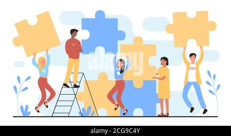 People connect puzzles flat vector illustration. Cartoon happy man woman young team of characters connecting puzzle pieces together. Teamwork building, successful partnership concept isolated on white