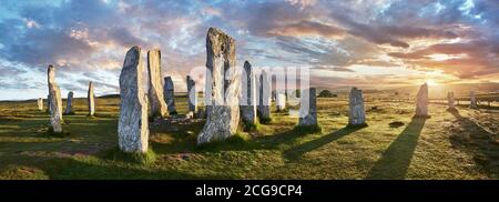 Panorama of Calanais Standing Stones  central stone circle erected between 2900-2600BC measuring 11 metres wide. At the centre of the ring stands a hu