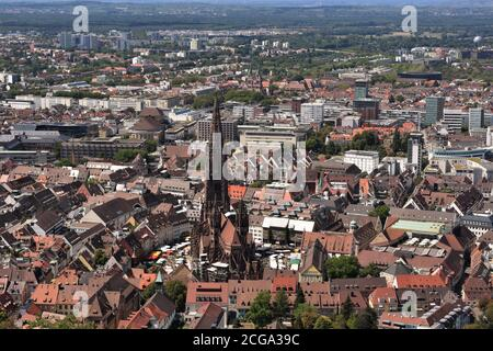 View from lookout Castle Hill Tower on the panorama of the city of Freiburg im Breisgau, Baden-Württemberg, Germany. On the picture is  old center.