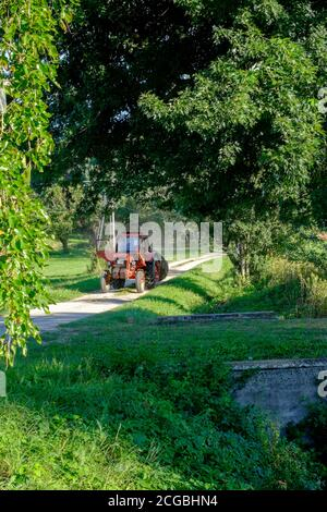 red tractor driving along rural country lane transporting large bale zala county hungary - Stock Photo