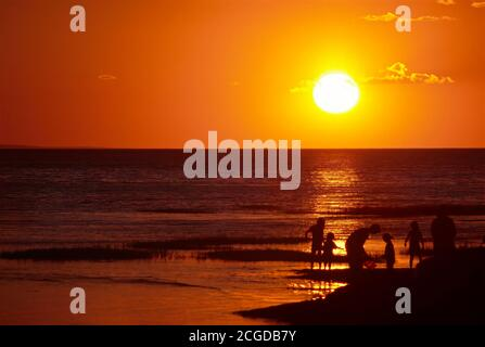 Golden sunset over Cape Cod Bay - Stock Photo
