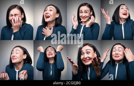 young and amused cheerful woman laughing and have fun - Stock Photo