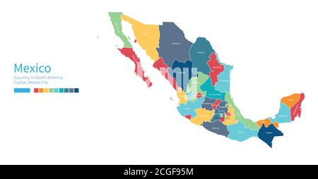Mexico map. Colorful detailed vector map of the North American country. - Stock Photo