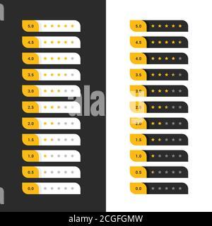 stylish dark and light yellow star rating symbols