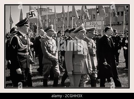 1938 Neville Chamberlain British Prime Minister arrives at Oberwiesenfeld airport Munich Germany on the way to a meeting with German Fuhrer Adolf Hitler to discuss German threats to invade Czechoslovakia, 28 September 1938. - Stock Photo