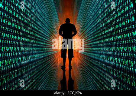 3D Illustration of a man standing between infinite lines of code symbolizing his digital identity and data tracks.