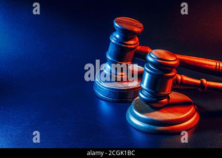 Judge gavel close up on paper background. Law and justice, legality concept - Stock Photo