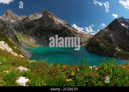 Alpine lake Klukhor on the border of Russia with Abkhazia