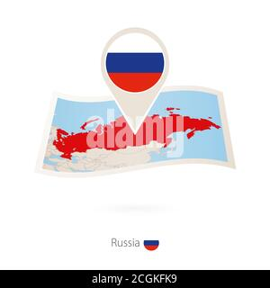 Folded paper map of Russia with flag pin of Russia. Vector Illustration - Stock Photo