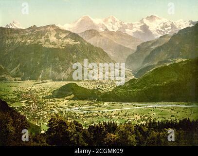 View of Beatenberg from Amisbuhl, Interlaken, Bern, Switzerland 1890. - Stock Photo