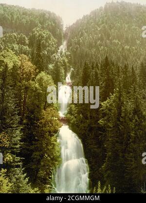 Giessbach Waterfall, Lake Brienz, Brienz, Bernese Oberland, Switzerland 1890. - Stock Photo