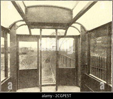 . The Street railway journal . VIEW OF CAR INTERIOR, SHOWING PLATE GIRDERS, SIDESILLS, CARLINES AND SHEET STEEL BOTTOM timely. This car is of the same general form as other carsrecently ordered by that company. The seating arrangementis shown in one of the accompanying engravings, and also thegeneral dimensions of the car. The car has no platforms, andsliding doors are placed directly in the corners of the car.These doors slide back into the side of the car. There is a. END VIEW OF ALL-STEEL CAR, SHOWING SPACE IN CORNERFOR SLIDING SIDE DOORS niche where the guard stands when operating the gate