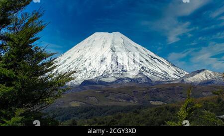The Mount Ngauruhoe from Desert Road - Stock Photo
