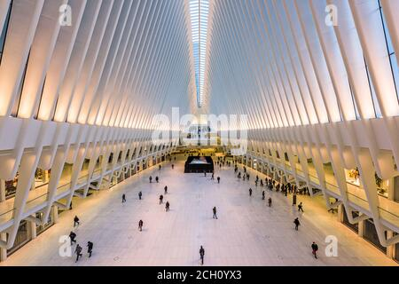 NEW YORK CITY, USA - OCTOBER 23, 2016: The Westfield World Trade Center Mall and transportation center in Lower Manhattan.