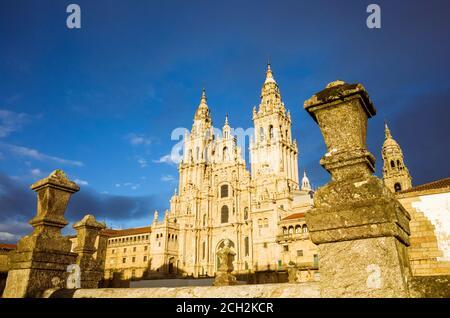 Santiago de Compostela, A Coruña province, Galicia, Spain - February 12th, 2020 : Baroque Obradoiro facade of the compostela Cathedral, the reputed bu