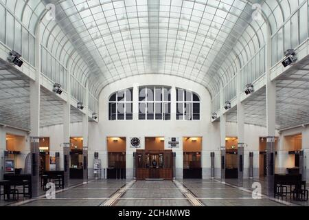 Art Nouveau main hall interior of the Austrian Postal Savings Bank in Vienna, Austria - Stock Photo