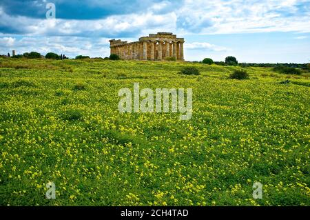 Temple of Hera a/k/a Temple E, Selinunte Archeological Park, Sicily, Italy - Stock Photo