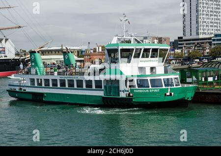 Portsmouth, UK - September 8, 2020: The Harbour Spirit ship, one of the passenger boats in the Gosport Ferry service linking Gosport and Portsmouth Ha - Stock Photo