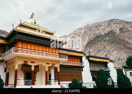 Samstanling Tibetan monastery in Nubra Valley, Sumur, Ladakh region, North India - Stock Photo