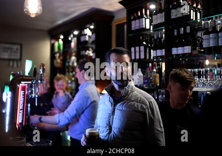 Donald Trump Jr. looks on as he visits a local pub in Doonbeg village, Ireland June 5, 2019. REUTERS/Clodagh Kilcoyne - Stock Photo