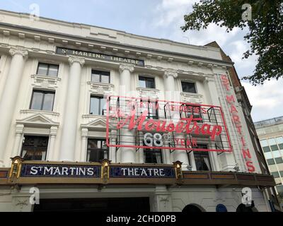THE MOUSETRAP, the world's longest-running show, will re-open at the St. Martin's Theatre in London's West End on 23rd October 2020 with reduced audience numbers to comply with social distancing measures . Its 67-year record-breaking run was halted on 16th March 2020 when all UK theatres closed on government advice in response to the Covid-19 pandemic - Stock Photo