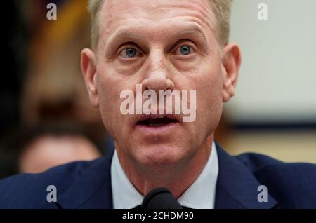 Acting U.S. Secretary of Defense Patrick Shanahan testifies to the House Armed Forces Committee on Capitol Hill in Washington, U.S., March 26, 2019.      REUTERS/Joshua Roberts - Stock Photo