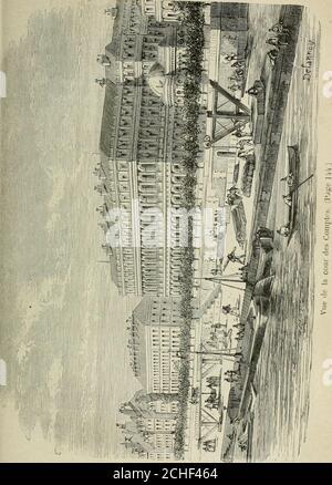 . Les merveilles du nouveau Paris-- . presque contigu au palais du grand Luxembourg. Le petitLuxembourg fut bâti en 1629, par Richelieu, pour lui servirde demeure en attendant que le Palais-Cardinal fût construit.Il communiquait autrefois au grand Luxembourg par uncorps de bâtiment. Ce fut là que le maréchal Ney attendit sacondamnation. Depuis, ce palais resta désert. Il neut denouveaux hôtes quà la révolution de Juillet 1830 : lesministres de Charles X y furent enfermés avant le jugementde la Chambre. Puis vinrent Fieschi et ses complices;Alibaud et Meunier ; à loccasion du fameux procès répu Stock Photo