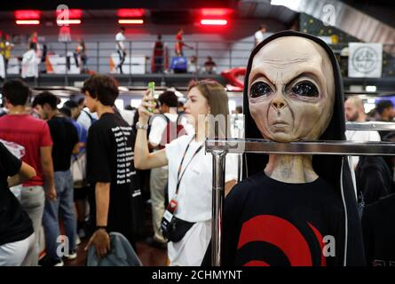 An alien mask is seen at the KICKIT Sneaker e Streetwear Market in Rome, Italy, September 23, 2018. Picture taken September 23, 2018. REUTERS/Alessandro Bianchi - Stock Photo