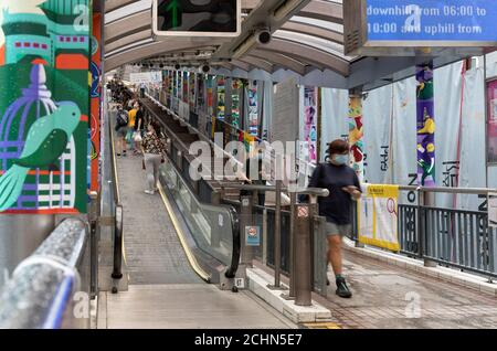 Hong Kong,China:11 Sep,2020.  The famous outdoor Central-Mid levels escalator Hong Kong. The system is the longest outdoor covered escalator system in
