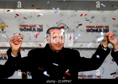 Turkish President Tayyip Erdogan reacts during a rally for the upcoming local elections in Istanbul, Turkey, February 16, 2019. REUTERS/Umit Bektas Stock Photo