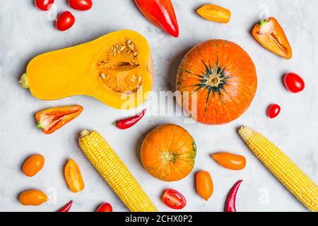 Assorted Fresh Yellow and Orange Vegetables. Background Food - Stock Photo