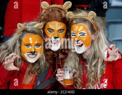 Rugby Union - New Zealand All Blacks v British and Irish Lions - Lions Tour - Eden Park, Auckland, New Zealand - July 8, 2017 - Lions fans before the match. REUTERS/Nigel Marple - Stock Photo