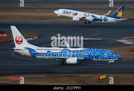 Japan Transocean Air (JTA), Japan Airlines (JAL) group, Boeing 737-800 is seen in front of a Skymark Airlines Boeing 737-800, both painted in special livery, at the Tokyo International Airport, commonly known as Haneda Airport, in Tokyo, Japan January 10, 2018. REUTERS/Toru Hanai