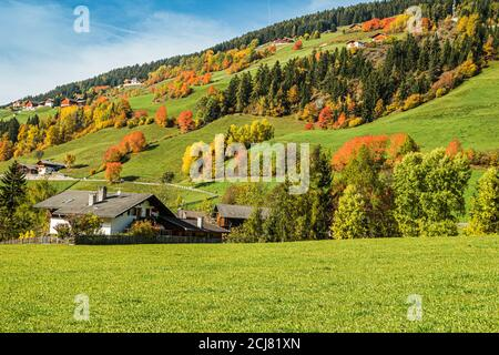 Early autumn in the village of Santa Magdalena in northern Italy on the slopes of the Dolomites in the valley of Val di Funes.