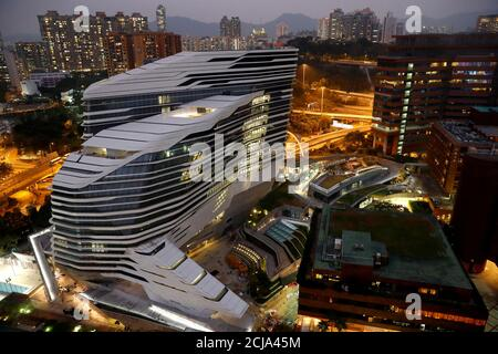 A general view of the Jockey Club Innovation Tower on the campus of the Hong Kong Polytechnic University (PolyU), in Hong Kong, China November 19, 2019. REUTERS/Thomas Peter