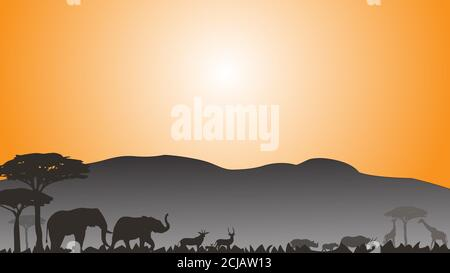 Full frame silhouette family of elephant rhinoceros deer and giraffes in the grassland on the multicolor background.