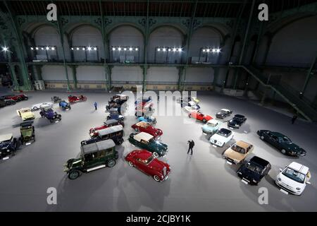 Vintage and classic cars are displayed ahead of the Bonhams' Les Grandes Marques du Monde vintage motor cars and motorcycles auction at the Grand Palais exhibition hall as part of the Retromobile vintage car show in Paris France, February 7, 2018. REUTERS/Gonzalo Fuentes - Stock Photo