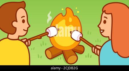 Cute cartoon boy and girl roasting marshmallows by campfire. Fun summer camping activity. Vector clip art illustration. - Stock Photo