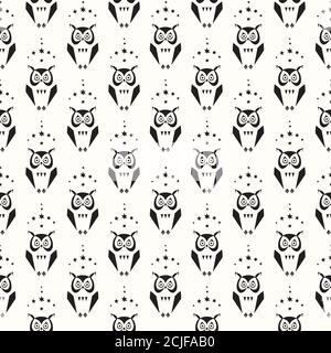 Seamless pattern with owls - Stock Photo