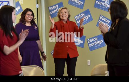 Democratic presidential candidate Hillary Clinton arrives to meet a group of DREAMers, at a campaign office in Las Vegas, Nevada February 14, 2016. REUTERS/David Becker - Stock Photo