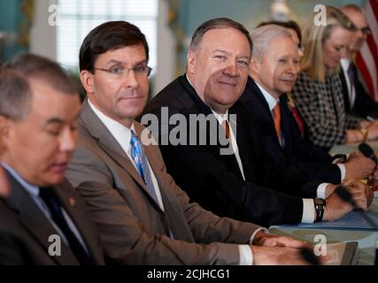 U.S. Secretary of State Mike Pompeo and Defense Secretary Mark Esper host Indian Minister of External Affairs Subrahmanyam Jaishankar and Minister of Defense Shri Rajnath Singh during the 2019 U.S.-India 2+2 Ministerial Dialogue at the State Department in Washington, U.S., December 18, 2019. REUTERS/Joshua Roberts - Stock Photo