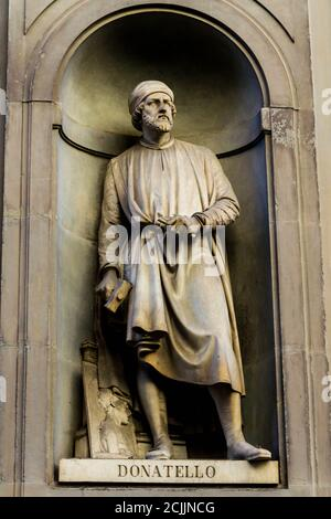 Statue of Donatello in Florence out of Uffizi Gallery - Stock Photo