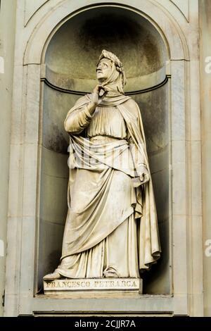 Statue of Francesco Petrarca (Petrarch) in Florence - Stock Photo